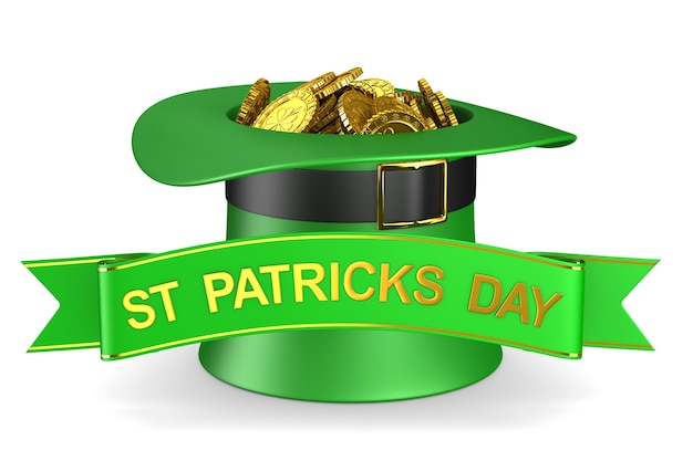 St patrick day. green hat with money on white background. isolated 3d illustration