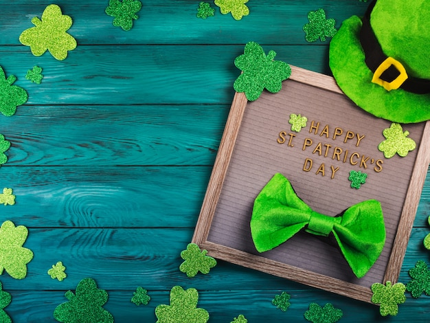 St patrick day greetings on letter board