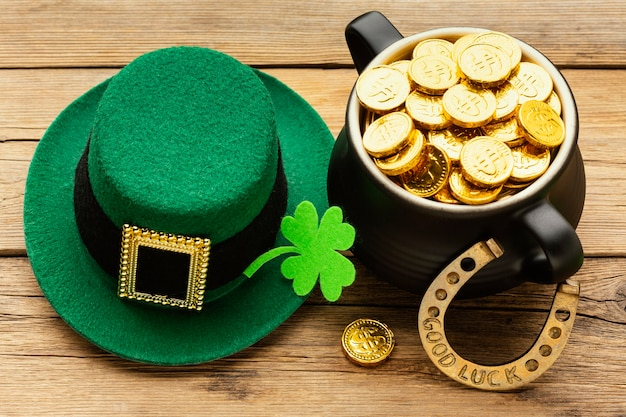 St patrick items on wooden table