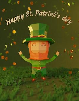 День святого патрика 3d визуализированная иллюстрация, низкополигональный мультипликационный персонаж, весело танцующий, падающие монеты со знаком клеверного листа