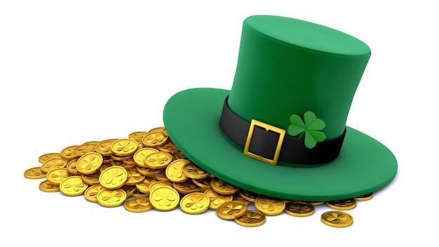 День святого патрика. зеленая шляпа лепрекона с клевером и множеством золотых монет. изолированные на белом фоне. 3d визуализация.
