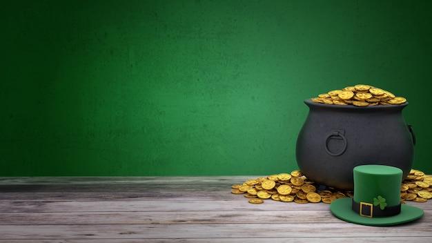 성 패트릭의 날. 클로버와 금화가 가득한 보물 냄비가있는 녹색 요정 모자. 녹색 배경과 나무 테이블입니다. 3d 렌더링.