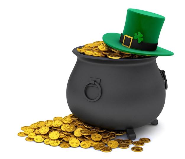 День святого патрика. зеленая шляпа лепрекона с клевером и горшок с сокровищами, полный золотых монет. изолированные на белом фоне. 3d визуализация.