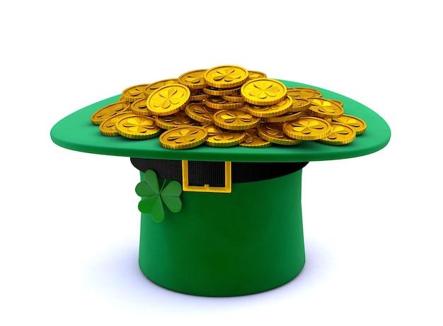 성 패트릭의 날. 거꾸로 거꾸로 된 클로버와 많은 금화가있는 녹색 레프 러콘 요정 모자. 흰색 배경에 고립. 3d 렌더링.