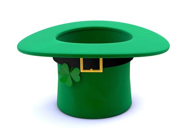 성 패트릭의 날. 거꾸로 뒤집힌 클로버가있는 녹색 레프 러콘 모자. 흰색 배경에 고립. 3d 렌더링.