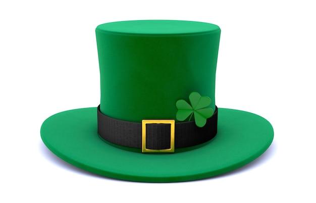 성 패트릭의 날. 클로버와 녹색 레프 러콘 요정 모자. 흰색 배경에 고립. 3d 렌더링.