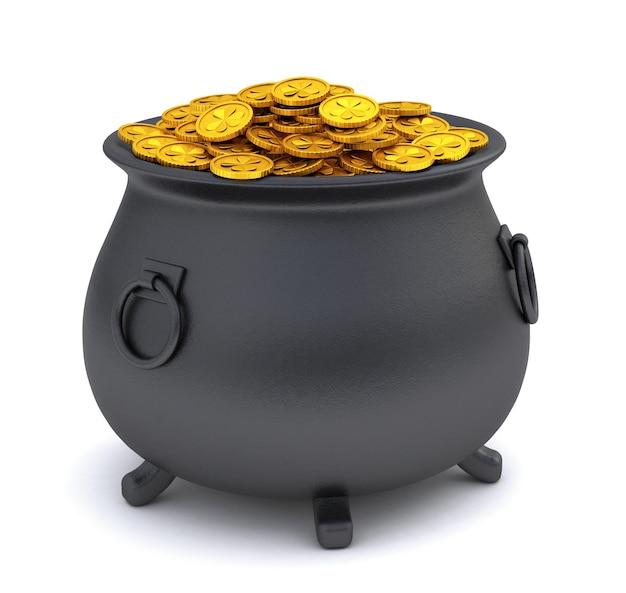 День святого патрика. горшок с сокровищами, полный золотых монет. изолированные на белом фоне. 3d визуализация.