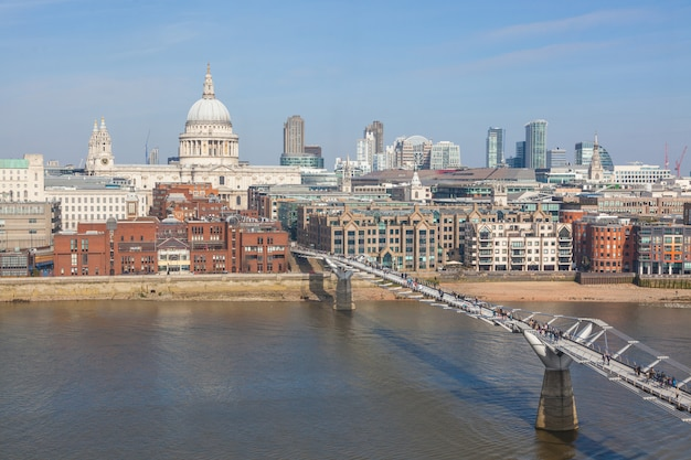 St paul cathedral and millennium bridge in london