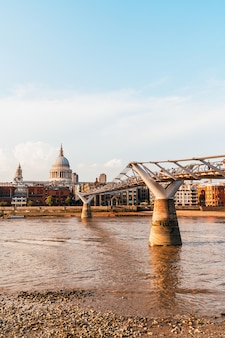St pauls cathedral and the millennium bridge at sunset landscape