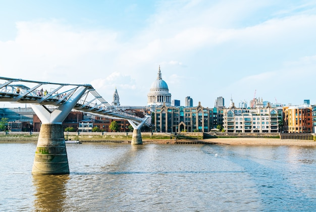 St pauls cathedral and the millennium bridge at sunset