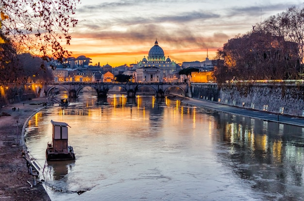 St. peter's cathedral at sunset in rome, italy