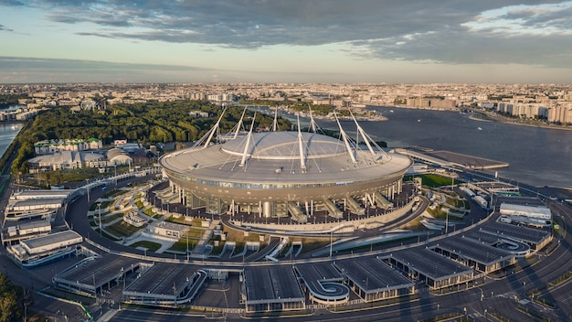 St. petersburg, russia, june 2019 - aerial view of gazprom arena in st. petersburg