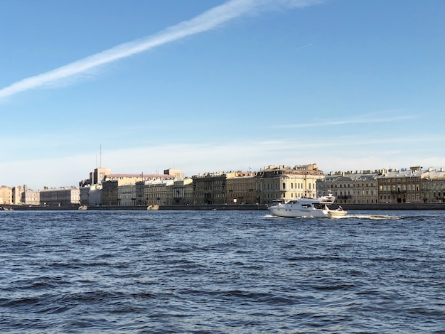 St. petersburg. yacht on the neva river in st. petersburg, saint-petersburg, russia