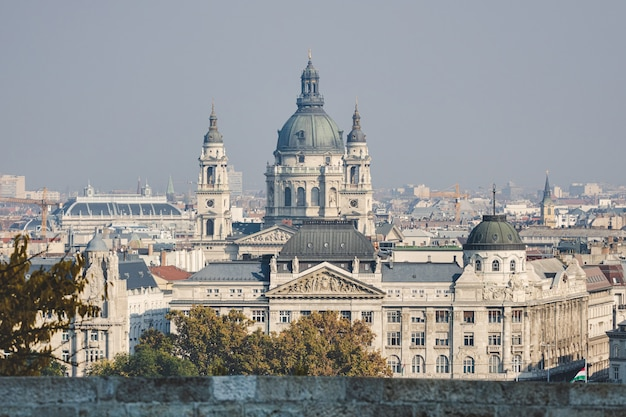 St stephen basilica in budapest view from the other side of danube river