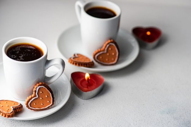 St. valentine day concept with coffees and cookies
