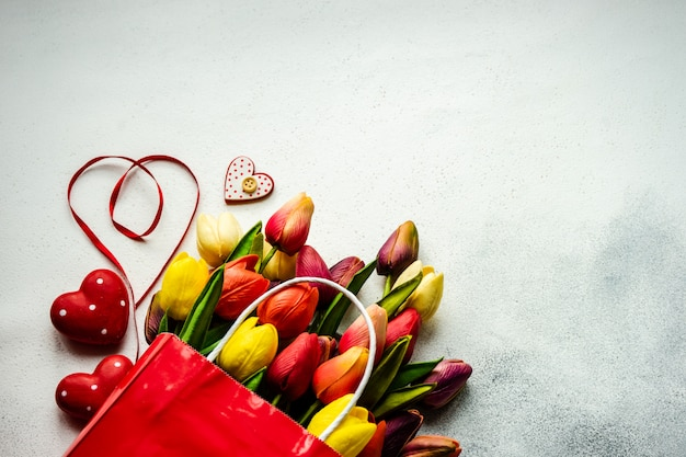 St. valentine day concept with flowers