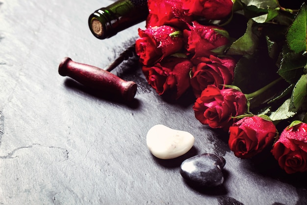 St valentine decoration with roses bouquet and wine