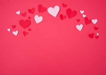 St. Valentine's Background with Pink and Red Paper Hearts