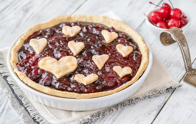 St. valentine's day cherry jam tart close-up