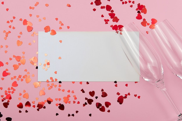 St. valentine's day concept on a pink background with decorations. the concept of the st. valentine's day, weddings, engagements, mother's day, birthday, new year, christmas and other holidays.