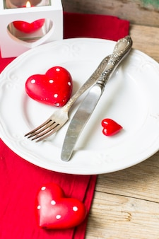 St. valentines day  with table setting and hearts