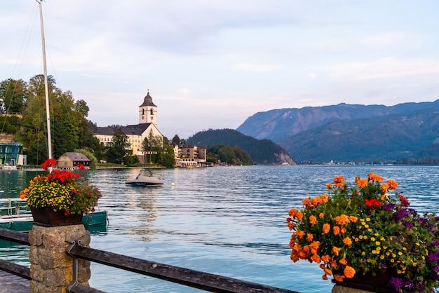 St. wolfgang waterfront with wolfgangsee lake, austria