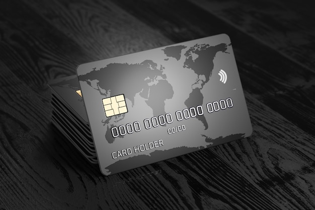 A stack of bank cards. credit card with world map on a dark wooden background. payment system. online payments. 3d render.