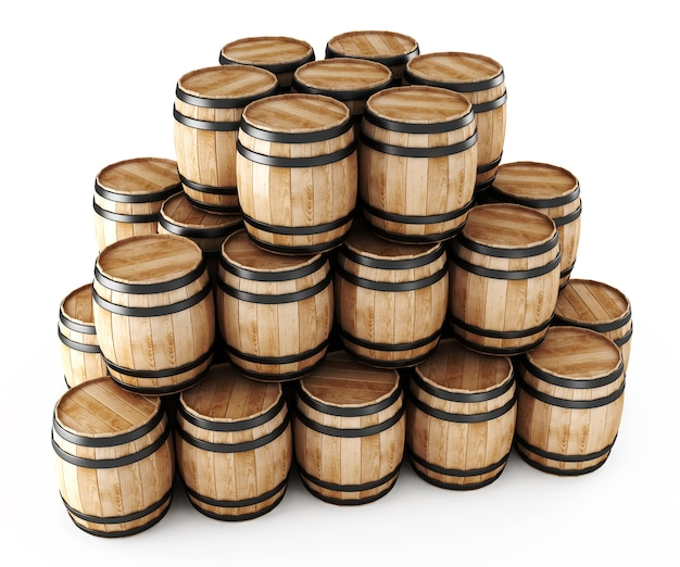 Stack of barrels isolated