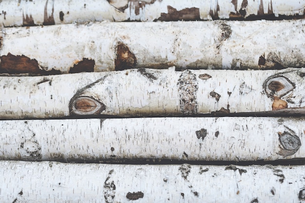 Stack of birch logs wooden background, close up