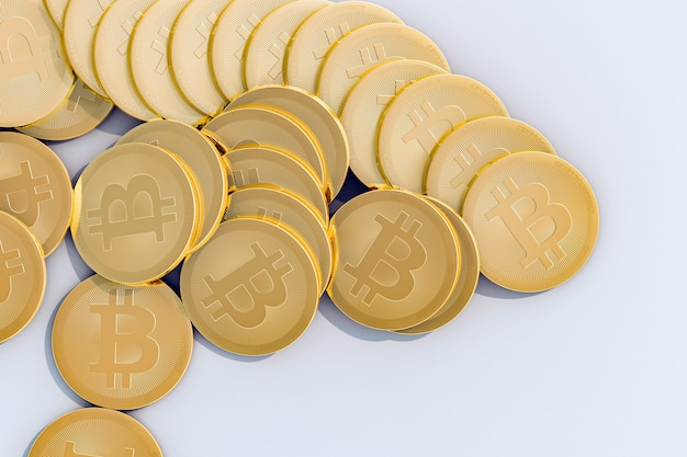 배경 흰색 고품질 3d 그림에서 bitcoins 스택