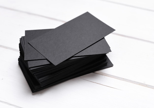 Stack of black business cards