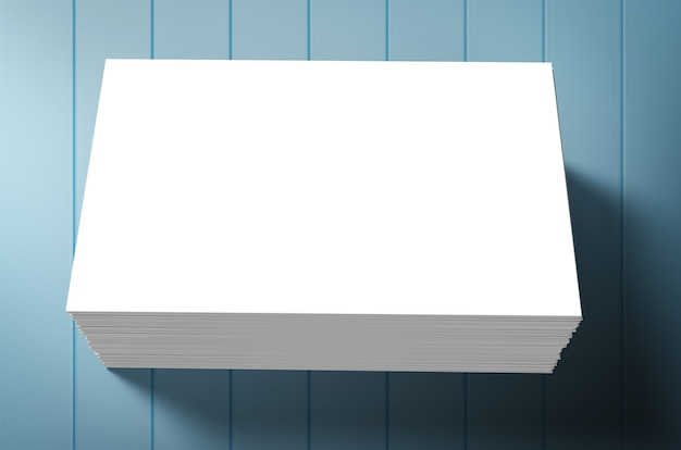 Stack of blank name cards on blue background