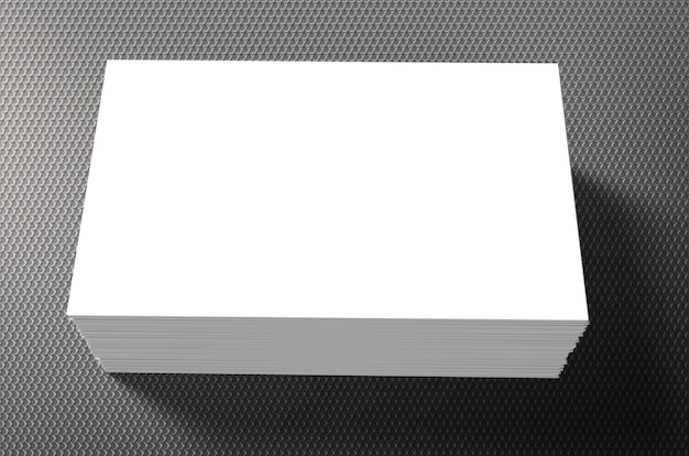 Stack of blank name cards on grey background
