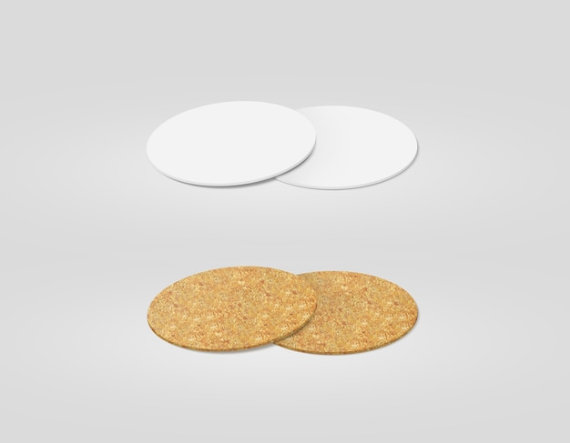 Stack of blank white and cork textured beer coasters