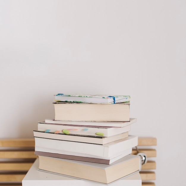 Stack of books and notebooks