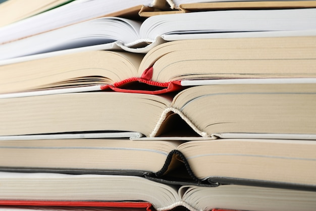 Stack of books on whole background, close up