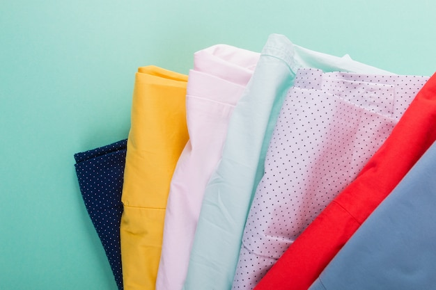 Stack of bright female trousers