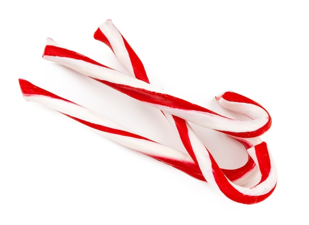 Stack of candy canes isolated on white background