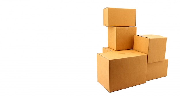 A stack of cardboard boxes on white background in studio,courier service concept.