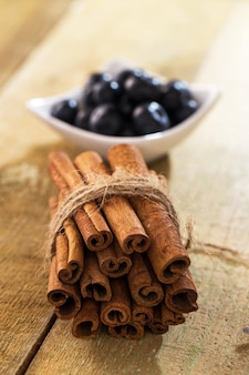 Stack of cinnamon and blueberries on a plate