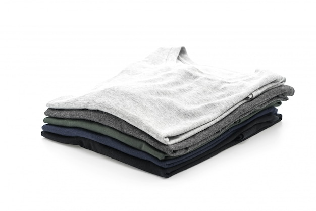Stack of clothes on white