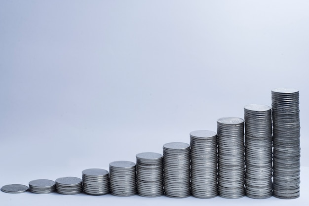 Stack of coins growth