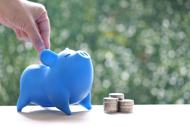 Stack of coins money and piggy bank on natural green background
