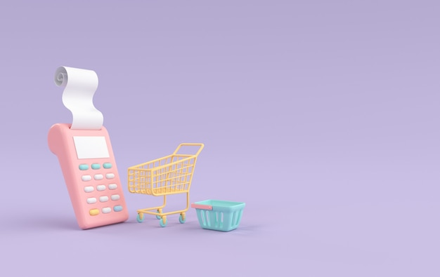Stack of coins pos terminal with receipt shopping cart and basket  3d rendering
