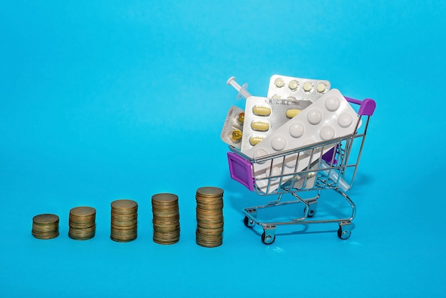 A stack of coins in a row with a grocery cart with medicines