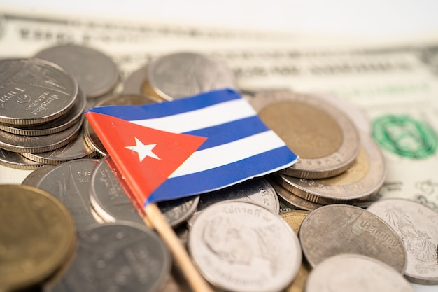 Stack of coins with cuba flag