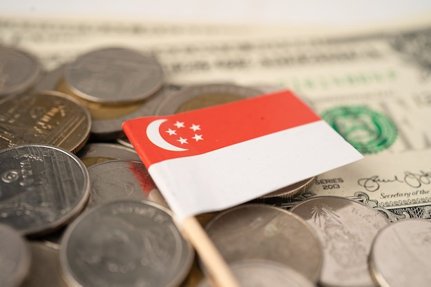 Stack of coins with singapore flag