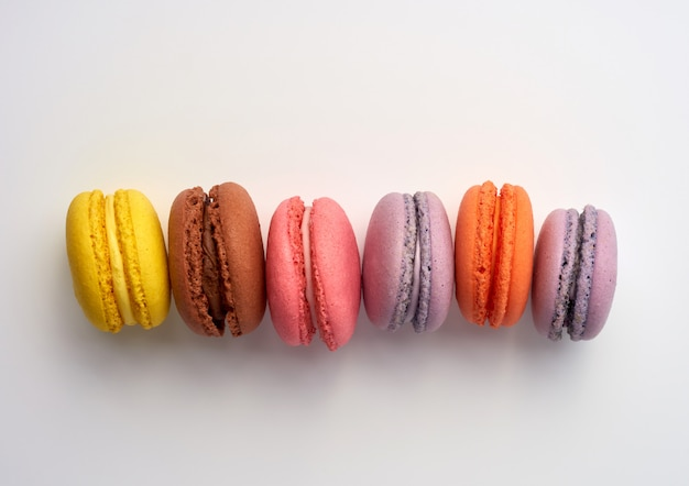 Stack of colorful baked macaron almond flour