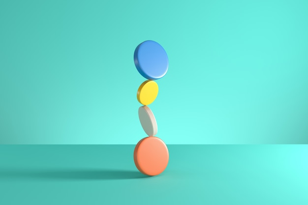 Stack of colorful cylinders isolated on blue background. minimal concept idea. 3d render.