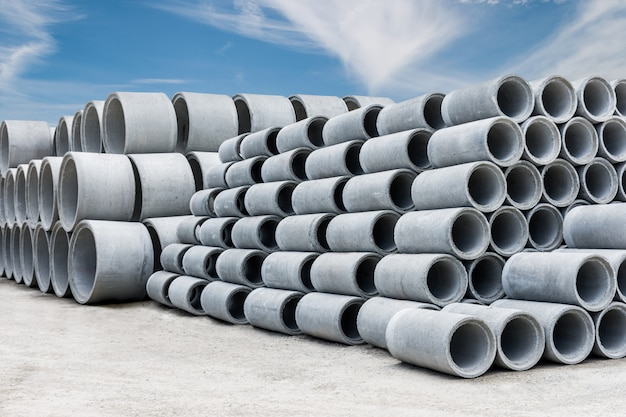 Stack of concrete drainage pipes for wells and water discharges